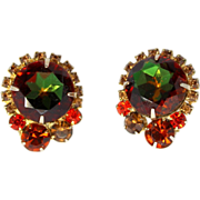 Vintage Juliana (D&E) Fall Colored Watermelon Rhinestone Earrings