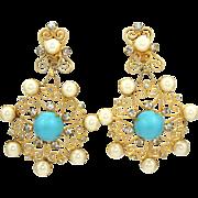 Huge Vintage Juliana (D&E) Faux Turquoise Cabochon, Faux Pearls & Scrolls Dangle ...