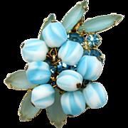 Vintage Juliana (D&E) Blue Nugget Bead & Frosted Aqua Rhinestone Brooch