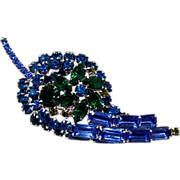 SALE Vintage Juliana (D&E) Book Piece Blue and Green Rhinestone Leaf Shaped Brooch