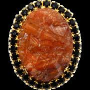 Vintage Juliana (D&E) Book Piece Amber & Black Geode Rhinestone Pendant / Brooch