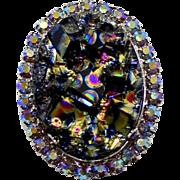 Vintage Juliana (D&E) Book Piece Black Geode Rhinestone Pendant / Brooch