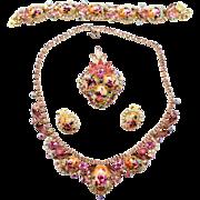 Vintage Juliana (D&E) Book Piece Pink & Lavender Rhinestone Rose Limoge Grand Parure
