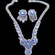 Vintage Juliana (D&E) Book Piece Baby Blue Margarita Rhinestone Demi Parure