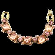 Vintage Juliana (D&E) Book Piece Pink Carved Glass Leaf & Rhinestone Bracelet
