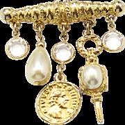 Vintage Juliana (D&E) Faux Pearl & Coin Dangling Charms & Crystal Bar Pin Brooch