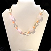 Light Pink Quartz & Goldtone Chain Necklace with Earrings by George