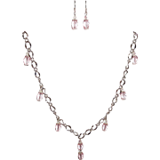 Pink Faceted Bicones On Silvertone Large Link Chain With Matching Earrings