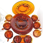 SALE Tiffin Kings Crown Amber-Brown Thumbprint 15pc. Snack Set