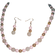 Pale Quartz With Filigree And Matte Pink Bead Necklace Set
