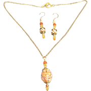 Beautiful Orange Blossom Encased In Lampwork Glass With Matching Earrings