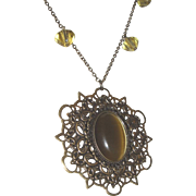 Cats Eye Topaz Pendant On Link Chain With Bicones