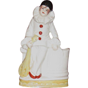 Pierrot with Lute Porcelain Figurine, Vanity Dish, German