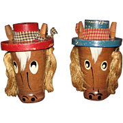 Comical Wooden Horse Salt and Pepper Shaker Set