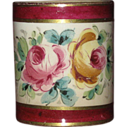 Antique Hand Painted German Toothpick Holder, Gold Enamel and Roses