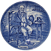 Enoch Wedgwood Small Collector's Character Plate, Farmer, Blue on White