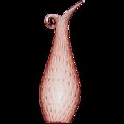 Murano, Italy Tall Pink Art Glass Ewer, Bullicante, Aventurine