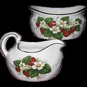 Vintage Hammersley Bone China 'Strawberry Ripe' Cream & Sugar Set, Basket Pattern