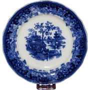 SALE Gorgeous Flow Blue Plate, Shanghai Pattern, Late 19th-Early 20th Century English
