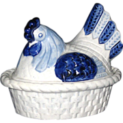 Metlox Poppytrail Hen on Nest Covered Dish, Blue Homestead Provincial, California Pottery