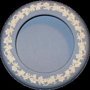 Wedgwood Candy Dish in Powder Blue Jasperware with Grape Vine Border, 1958