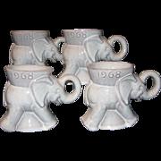 GOP Elephant Mugs 1968 Election, Frankoma 1st Issue, Set of 4