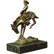 Remington Bronze, Fine Small 'Outlaw' Statuette, Cowboy on Bronco, Marble Base