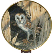 Spode Bone China Collector's Plate, Barn Owl by Seerey-Lester, Limited Certificate Signed by