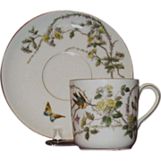 SALE Charles Field Haviland, Limoges Hand Painted Demitasse Cup and Saucer
