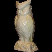 SALE Cream White Irish Belleek Owl Vase, Gold Mark