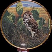 "Spode China ""Prairie Sundown"" Burrowing Owl Collector's Plate, Nature Artist John Seerey"