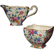 REDUCED 'Old Cottage' Pattern Chintz Cream & Sugar Set, Royal Winton Grimwades, Early Mark