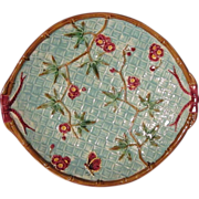 Antique Bamboo and Basket Weave Majolica Platter, Book Piece