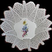 Handmade in Romania, Lattice Work Porcelain Basket, Posy Center