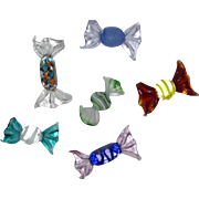 Six Pieces Art Glass Hard Candy, Colorful Array