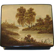 SOLD Russian Lacquer Box, Hand Painted Landscape - Red Tag Sale Item