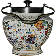 SOLD Lancaster Hanley Chintz Biscuit Jar, Square with Silver Plate Fittings