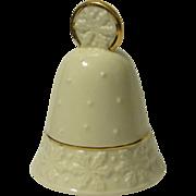 Lenox Porcelain Christmas Bell, Cream White with Gold Enamel Trim