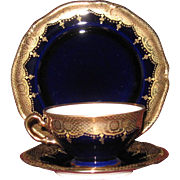 Gold Encrusted Cobalt Blue Porcelain Tea Trio, Hutschenreuther