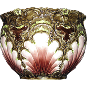 REDUCED Nineteenth Century Art Nouveau Majolica Jardinière, Cache Pot, Seashell Motif