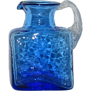 Pilgrim Cobalt Blue Rock Crystal Petite Art Glass Pitcher