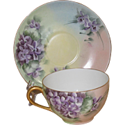 Tressemann & Vogt Limoges Hand Painted Antique Cup and Saucer Set, with Violets, Signed