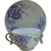 Tressemann & Vogt Limoges Antique Cup and Saucer Set, Violets
