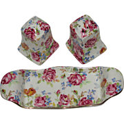 Adorable 3-Piece Royal Winton Grimwades Salt & Pepper Set with Tray