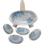 Porcelain Tirschenreuth Hand Painted Signed Relish Dish with Four Individual Salt Dips, ...