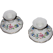 Pair of Aynsley England Bone China Candlesticks, Pembroke Pattern