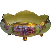 Antique Pickard Bowl, Hand Painted Violets Signed by Listed Artist George Sinclair