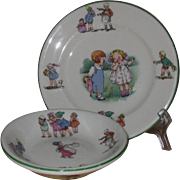 Shenango Children's Dinner Ware Storybook Design Bread Plate and Small Bowl