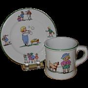 Shenango Children's Restaurant Ware, Bread Plate and Mug, Story Book Motifs