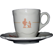Shenango Espresso Cup and Saucer, Stenciled Howard Johnson Pieman Design (#2)